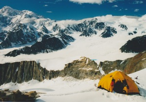 High Camp on Moose's Tooth, with Denali behind