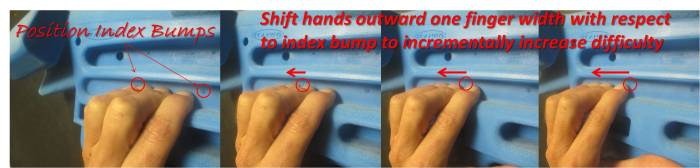 Slide your hand outward, using the Position Index Bump as a reference point, to incrementally increase difficulty.