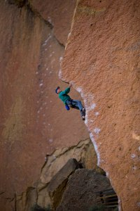 Many routes, such as Chain Reaction, 5.12c, require finger strength. Alan Watts returns to this catalyst of sport climbing, 30 years after the first ascent.