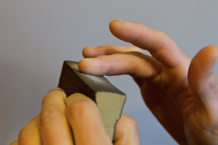 Sanding is a tried-and-true method of toughening finger skin, but it has limitations.