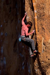Andrew Hunzicker on Vicious Fish, Smith Rock, OR.