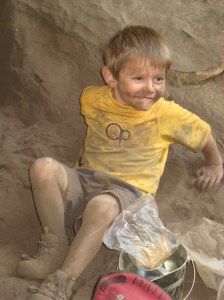 Kids luv the crag! Lucas Anderson at the RRG at 4.