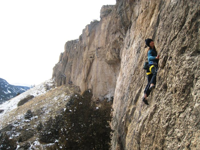 "Two-time mother Janelle Anderson cruising ""Bacup Binky"" in Sinks Canyon, Wyoming."