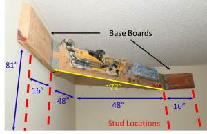 Useful measurements for mounting a hangboard.