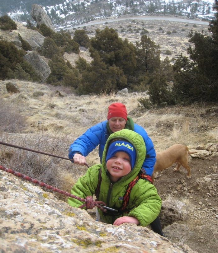 Sam climbing with his centaur dad Steve Bechtel in Sinks Canyon.