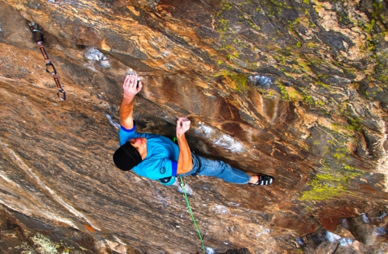 Battling shallow slopers and thin crimps on the 'Mission' crux – the lower half of Mission Impossible.