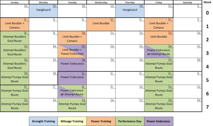Notional Transition Phase training schedule.