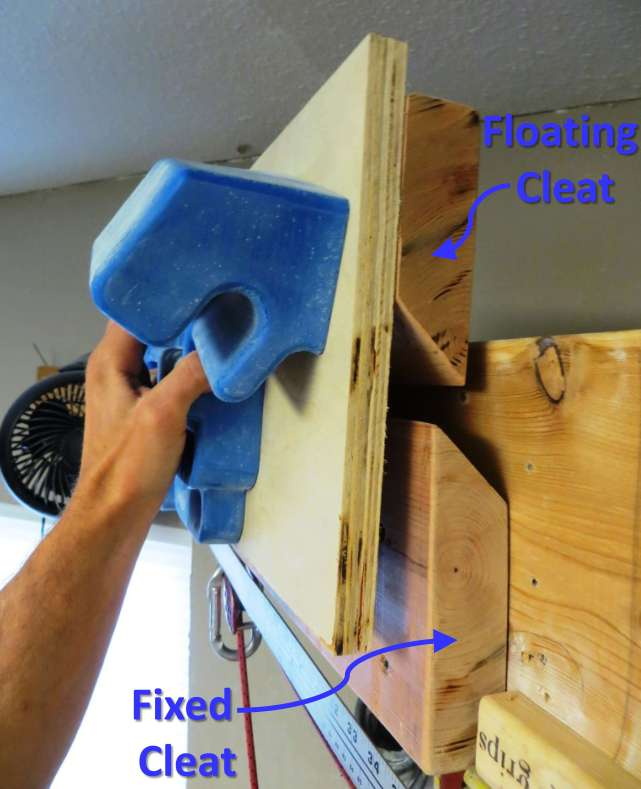 "The French Cleat concept: The upper incut board (fastened to a piece of plywood and one half of the RPTC) hooks onto the lower, fixed incut board. This allows the upper unit to ""float"" freely from side to side along the fixed cleat."