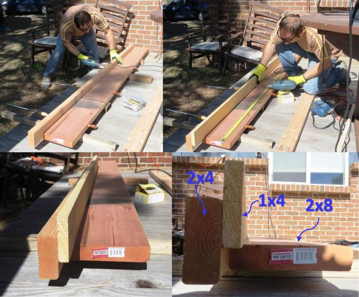 "Building a guide (aka ""fence"") out of a 2x4 and 1x4 to keep the circular saw aligned correctly during the rip cut. The 2x4 is fastened into the 2x8, and the 1x4 is fastened to the 2x4. Once the cut is complete, the 2x4 and 1x4 are removed."