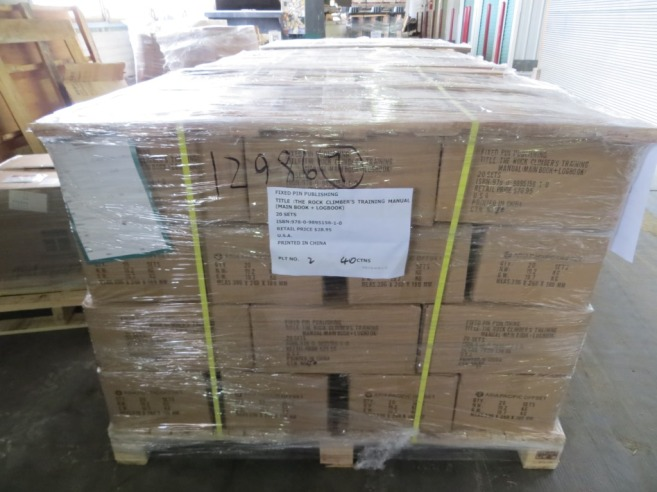 One of seven pallets of The Rock Climber's Training Manual.  Your copy is in there somewhere!