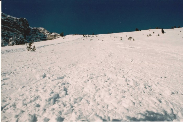 ...and Timmy's view looking back up the slope after arresting his slide.