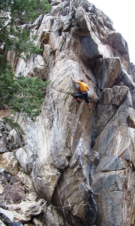 Just above the crux.