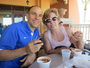 "Enjoying seafood gumbo from ""Dewey Destin's Seafood Restaurant"" with my Mom, Karen."