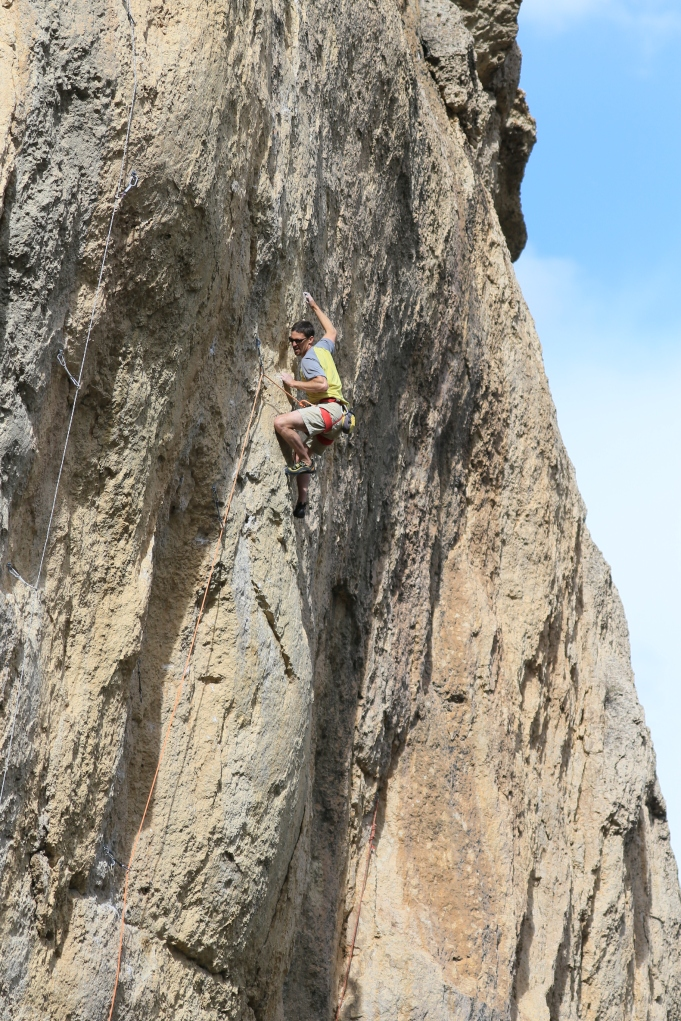 Dr. Tom Rangitsch going for the FA of Full Moon, 5.13b.