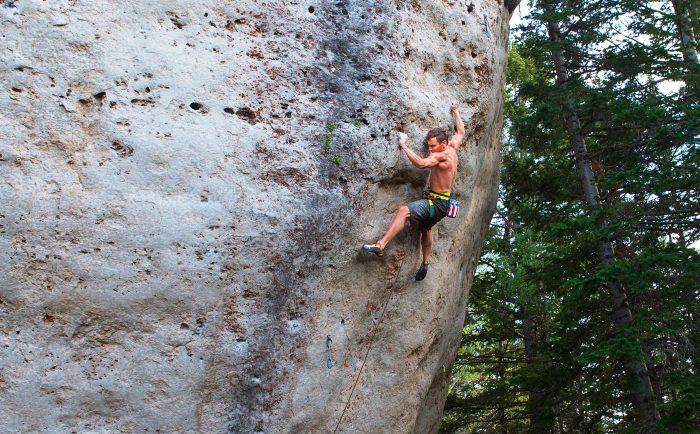 Jonathan crushing Moonshine, 5.14d, at the Wild Iris last summer. Photo Mike Anderson.