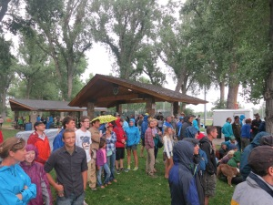 The crowd lined up to hear about the Rock Prodigy Training Center! j/k