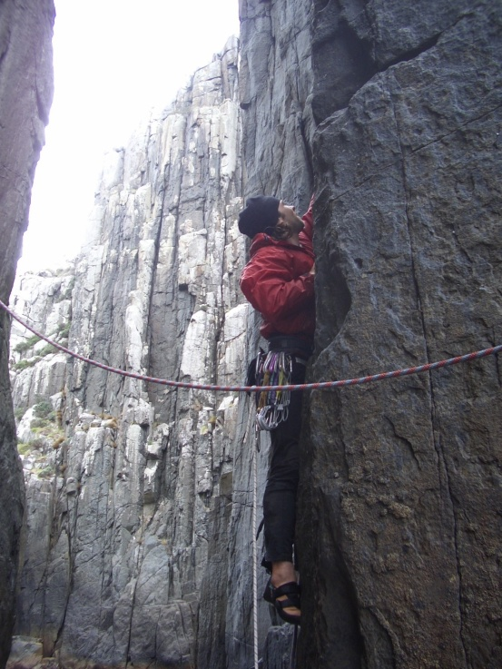 Beginning up the first pitch of The Free Route.