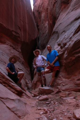 L to R: Chris, CJ and Mike in Larry Canyon