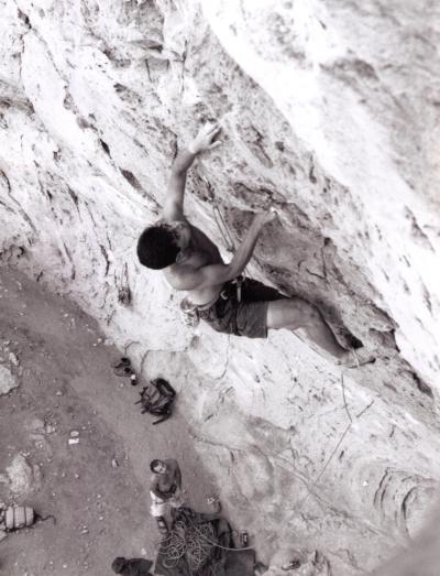 Coach Seiji crushing at Sitting Bull Falls, NM.