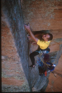 The First Free Ascent of the Lowe Route, in Zion, UT back in 2004 (5.13-).