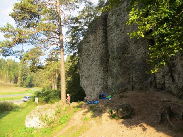 The left, vert-ish side of Weissenstein. The rope is on an uber-classic 5.8 jug haul called Boulderwandl