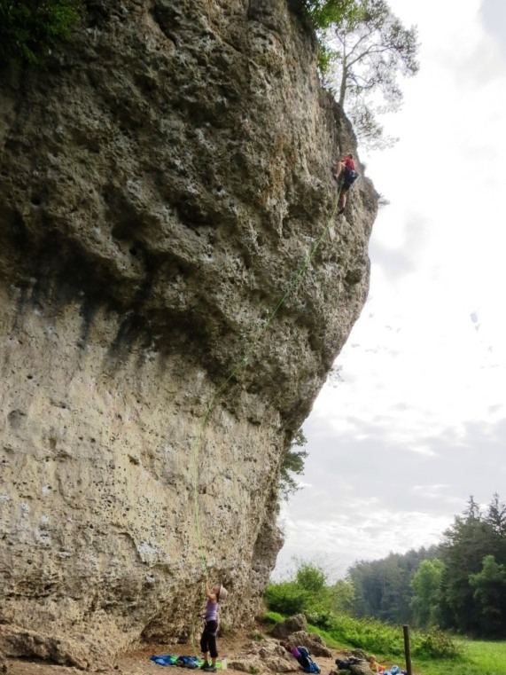 Onsighting Krampfhammer (~13a?) at Weissenstein. Photo Logan Anderson :)
