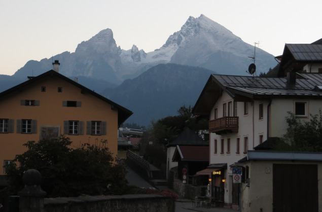 The Kleiner (L) and Grosser (R) Watzmann stand sentry-like above the hamlet of Berchtesgaden. At 2713m, the Grosser Watzmann is the highest peak located entirely within Germany (and the third highest period.)