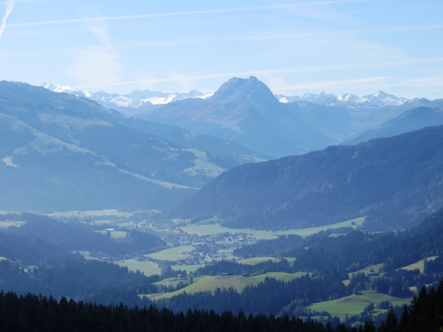 The view south, towards the Kitzbuheler Alpen ski region, from the Schleierwasserfall.