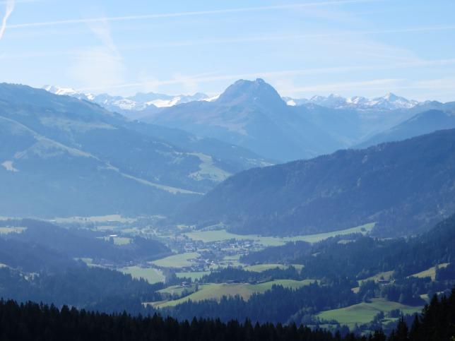 The view south, towards the Kitzbuheler Alpen ski region, from the Schleierwasserfall.