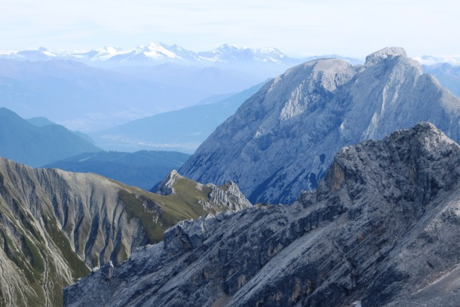 The view to the southeast from the summit of the Zugspitze.  Amazingly the Marmolada (in the Dolomites) was visible from here, just out of the frame to the right.