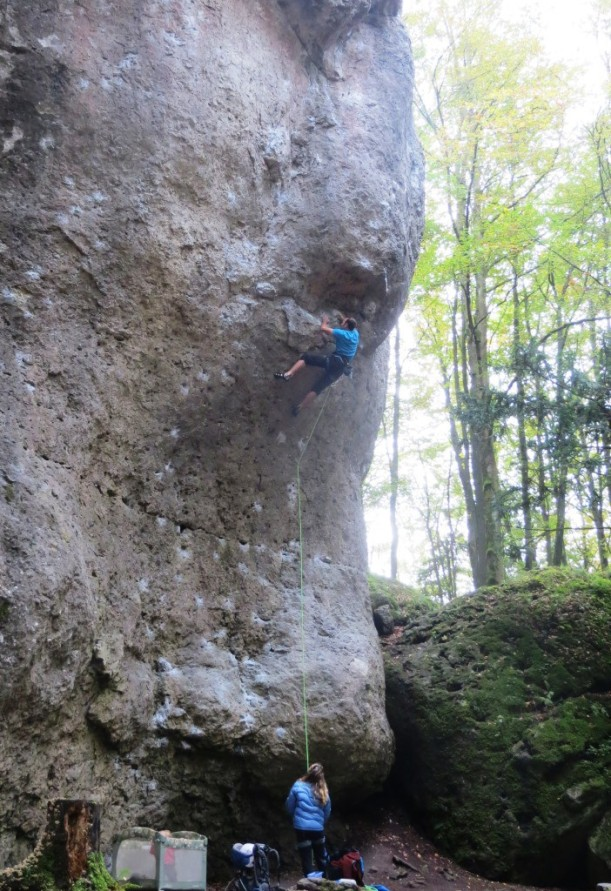 Climbing Hitchhike the Plane, 5.13b, Wolfgang Gullich's clever answer to Bachar's line.