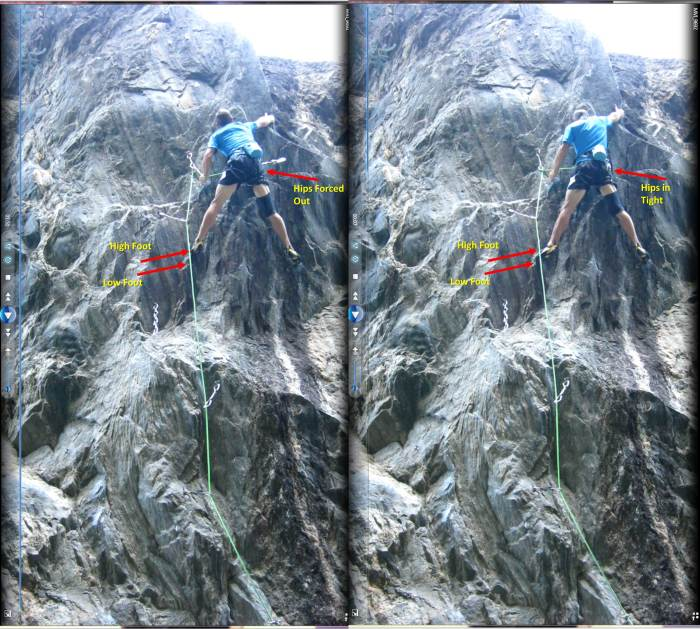 Side-by-side video screen captures of the apex of the dyno.  The left image is from my failed redpoint attempt with the incorrect (higher) foothold. On the right, the lower foothold is used, and I have a longer reach because my hips are able to be closer to the wall.