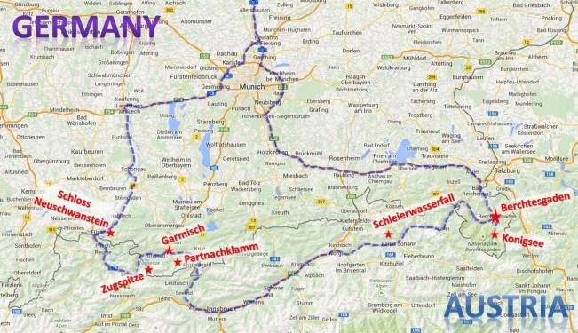 Our route through the Bavarian Alps.