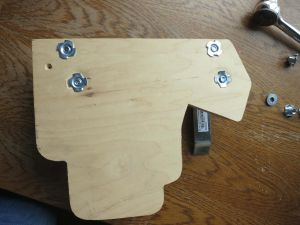 The front side of the backplate. Note the T-nuts are flush with the plywood to allow you to mount the RPTC flush.