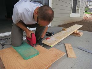 Cutting the shims.