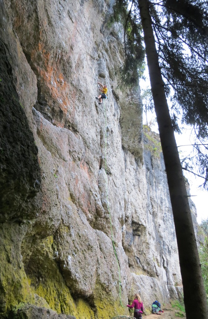 Onsighting the uber-classic Gullich pump-fest Treibjagd, ~5.12c, on Puttlacher Wand.