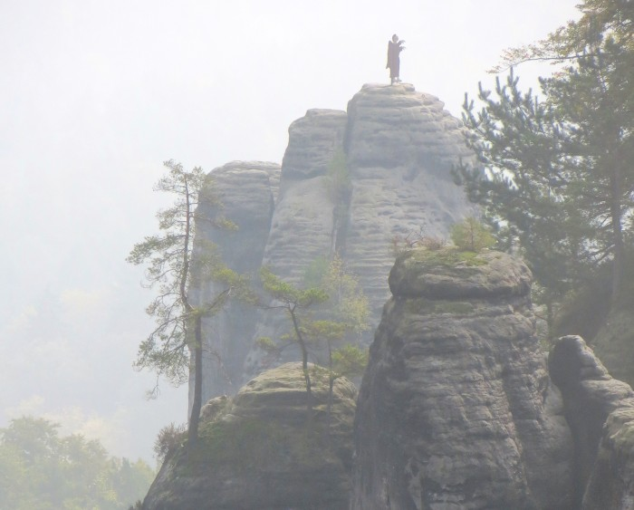 A statue of a Monk. The formation is also known as The Monk, and the tower-ette I climbed is at the base of the formation, opposite the camera.