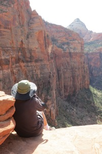 """Scoping out """"Rub it Raw"""" from the Great Arch overlook, the day before the climb."""