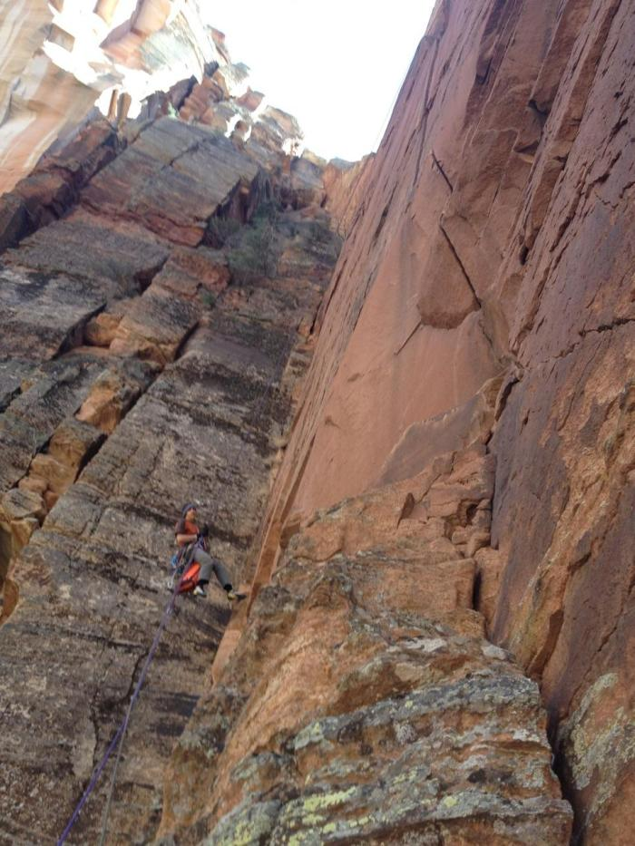 Pitch 4 as seen from the belay. You can get a sense of the angle of the wall from the rappel rope. Note the two short bulges, and the splitter offset above.