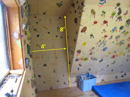 The west end of the north wall. Pretty much useless, although it allows for a novel arête feature.  I'd much rather have 40 square feet more of 35-degree overhang…