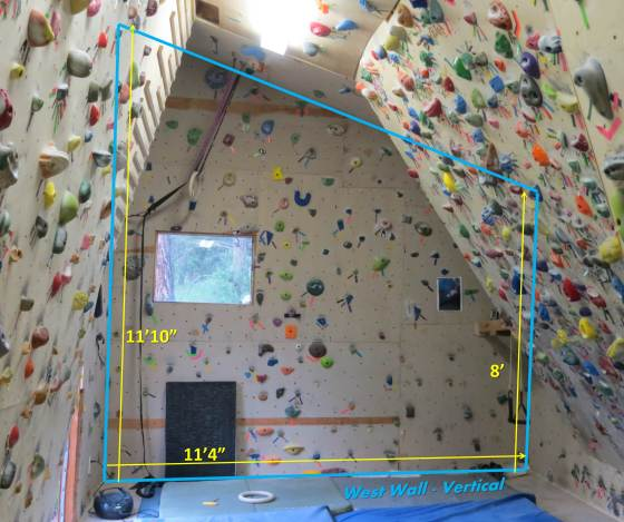 The vertical West Wall of the Lazy H.  This wall is great for warming up and ARCing on small, insecure hand and footholds.  It has a few boulder problems that I climbed regularly when training for To Bolt Or Not To Be.  They haven't been touched in the six-plus years since :)