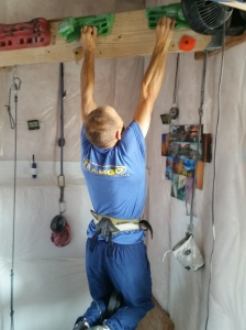 Psych-Hangboard-Tester, Mike Anderson taking the new Trango Forge through its paces.