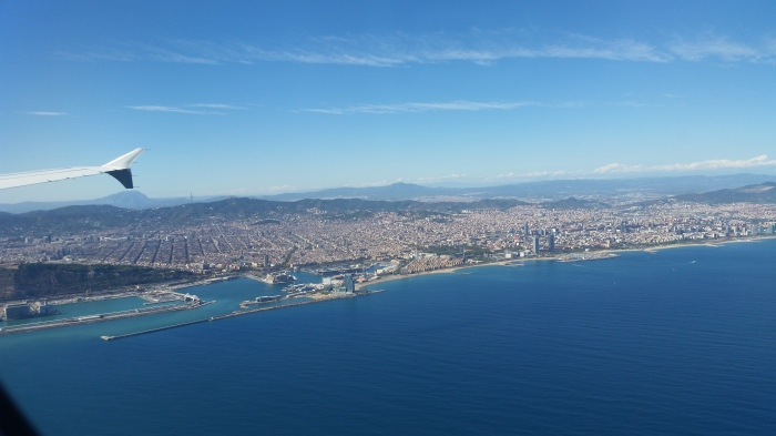 Flying over the Mediterranean Sea close to Barcelona.