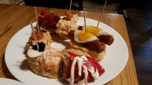 Tapas! Small Spanish savory dishes, typically served with drinks at a bar