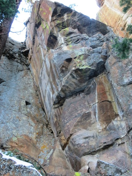 Another section of the previous cliff from below, with bolts in.