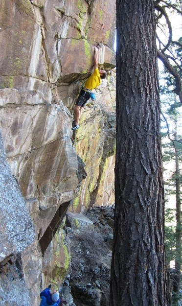 This photo has nothing to do with the adjacent text. Sticking the crux dyno on Nailed It, 12d, at the Sterling Wall.