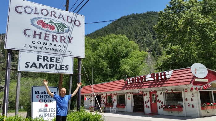 Celebrating the send at the Cherry Pie Capitol of Colorado...in Big Thompson Canyon on the way to the Monastery. I got a cherry pie!