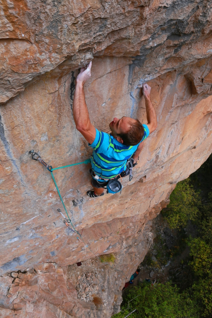 Mark Anderson making the third ascent of Shadowboxing, contender for Rifle's hardest route.