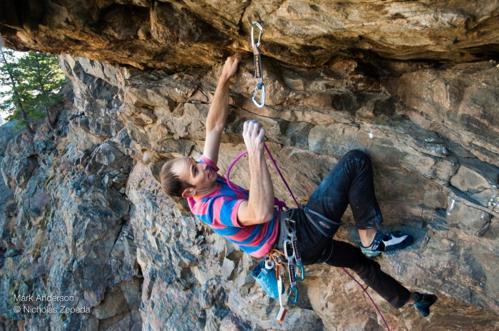 The first ascent of Strapped with Lats, 5.12c, at Aftermath. Photo Nicholas Zepeda.