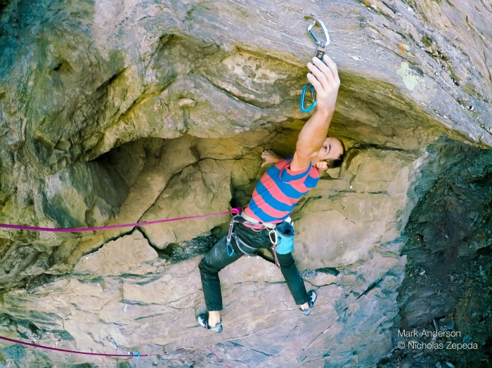 High on my new jughaul Aftermathematics, 5.12a, at Aftermath. Photo Nicholas Zepeda.